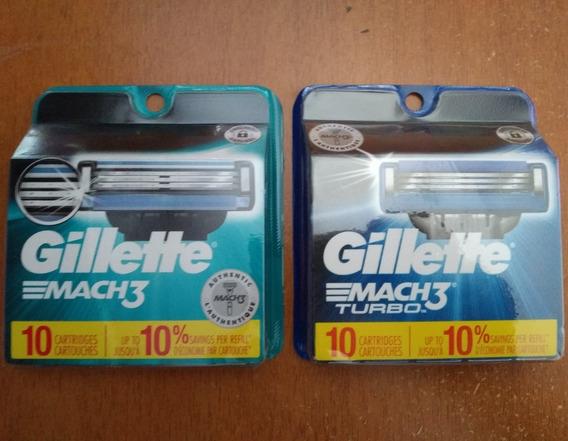 Gillete Mach3. Empaques De 10 Cartuchos