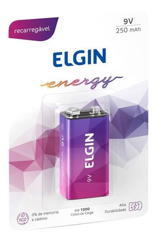 Imagem 1 de 6 de 01 Bateria 9v 250mah Recarregável Elgin 01 Cart. C/ 1 Unid.