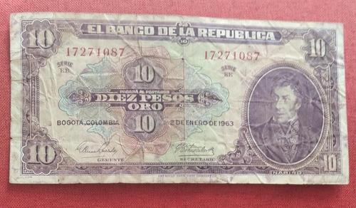 Imagen 1 de 2 de Billete Colombiano Antiguo De 10 Pesos, 1963 Regular Estado