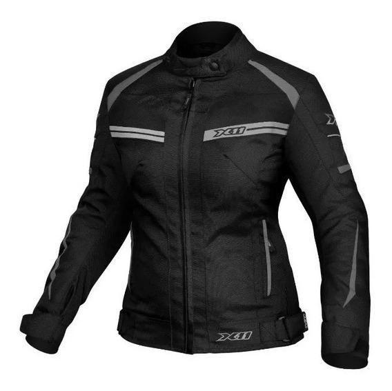 Jaqueta Feminina Moto X11 Com Proteção Preta Motociclista