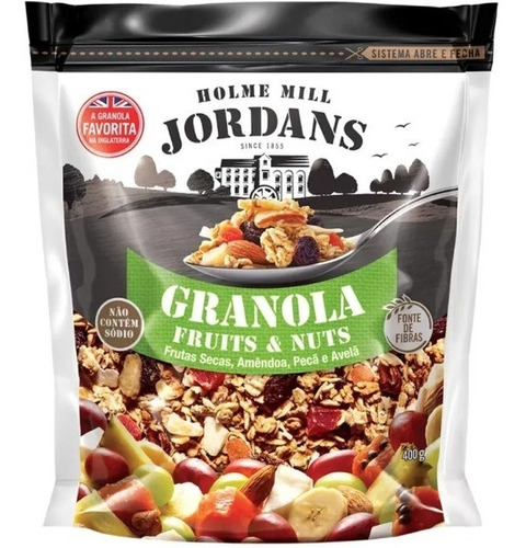 Imagem 1 de 5 de Granola Cereal Jordans Fruits E Nuts Amêndoa Peçã Avelã 400g
