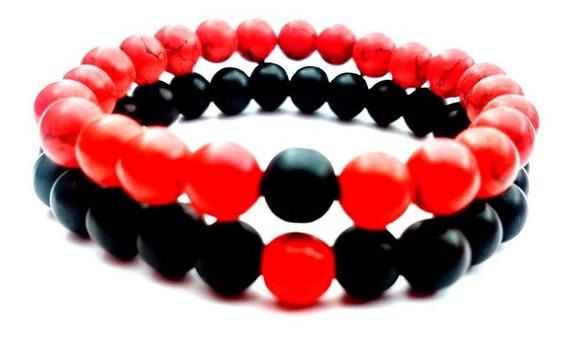Pulsera Distancia Novios Yin Yang Amor Rojo Onix