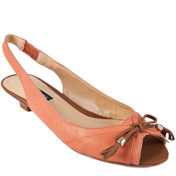 Sapato Peep Toe Salto Baixo Emporio Naka Coral Marrom Novo