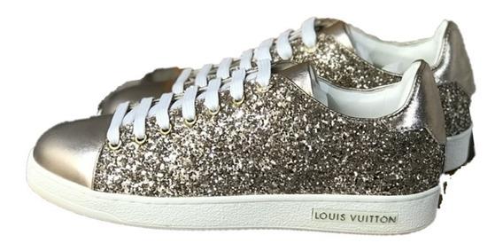 Tenis Louis Vuitton Brillos Dorado Envio Gratis