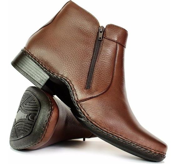 Sapato Masculino Botina Socal Couro Pelica Antistress