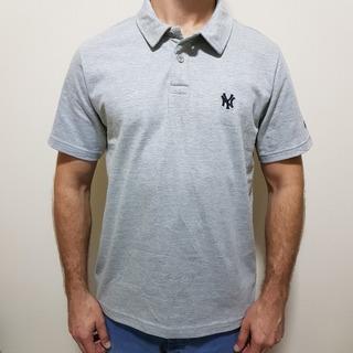 Camisa Polo New Era Mlb New York Yankees Cinza Claro