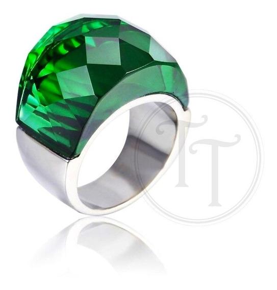 Anillo Tiesto Titanio 18k Swarovski Green