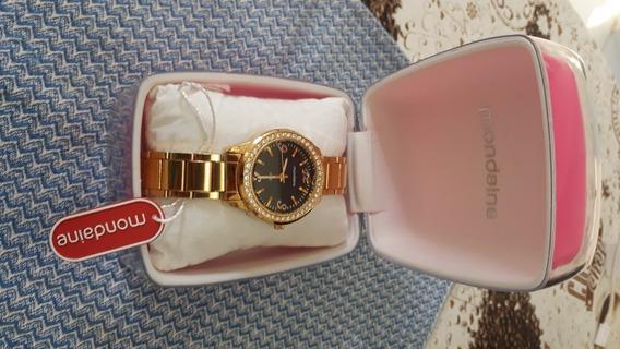 Relógio Dourado Com Cristais Feminino