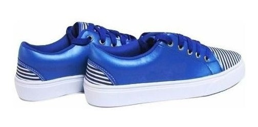 Sapatenis Feminino Branco C/ Azul Tenis Listras Imperdível!