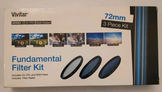 Kit 3 Filtros Vivitar Uv Polarizado Fluorescente Nd8 72mm