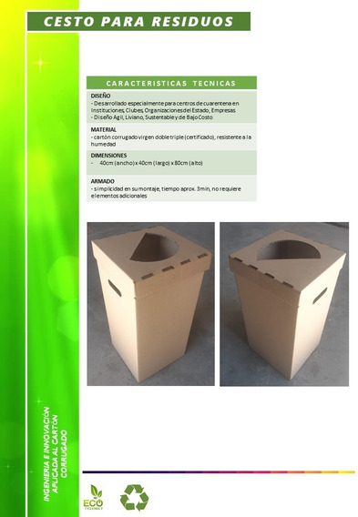 Cesto Residuos Reciclable Descartable De Cartón Corrugado
