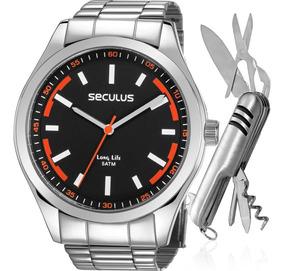 Kit Relógio Seculus Masculino Com Canivete Nfe 28979g0svna2k