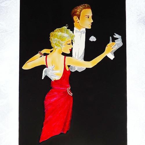 Pintura Vitral Casal Dança De Salão