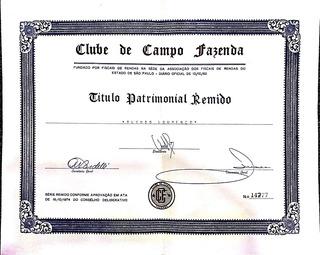 Título Clube De Campo Fazenda Familiar Remido - Itatiba - Sp