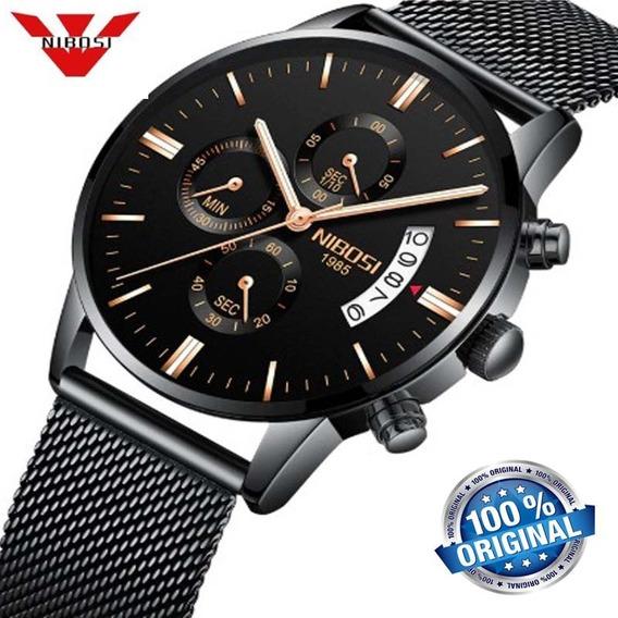 Relógio Masculino Nibosi 2309 Preto Casual De Luxo Original