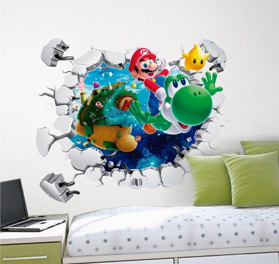 Vinilo Decorativo 3d Mario Bros -i21 Sticker Muro Roto