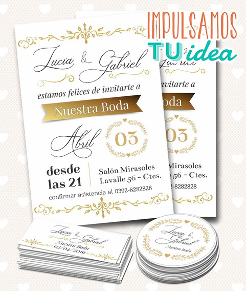 Invitación De Casamiento, Tarjetita Souvenir Boda Imprimible