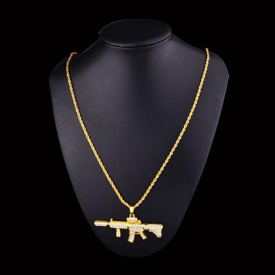 Colar Fuzil M4a1 Ouro Brilhante Arma Ar15 Frete Grátis