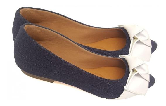 Sapatilha Jeans Com Laço Branco