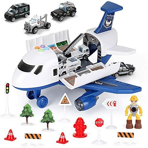 Juego De 19 Vehículos Policía, Avión De Juguete Para Niños