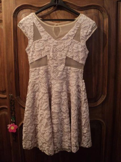Vestido Corto De Encaje Con Tul Transparencias Color Crema