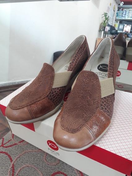 Zapato Piscis Cuero Comb. Marrón
