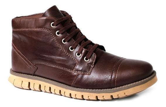 Coturno Bota Confortável Couro Legitimo Tchwm Shoes Original