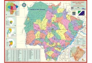 Mato Grosso Do Sul - Mapa Geo Político E Rodoviário Gigante