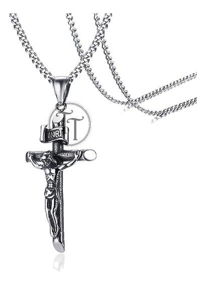 Collar Cruz Cristo Inri Titanio 18k Plateado