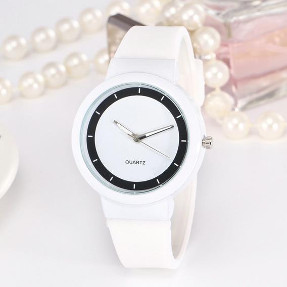 Relógio Feminino Branco De Pulso Original Analógico Classico