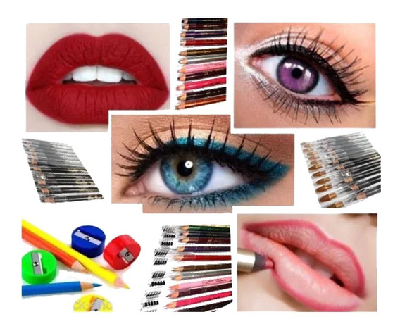 Set 12 Delineadores Dobles Ojos/labios Sacapuntas Y Cepillo
