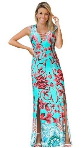 Vestido Floral Alto Verão Fenda Na Perna Tiras No Decote