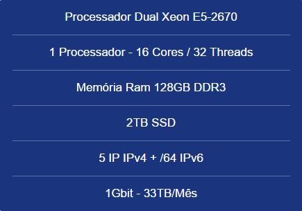 Servidor Dedicado Dual Xeon E5-2670- 128gb- 2tb Ssd-5 Ip