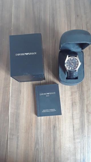Relógio Empório Armani Pulseira De Couro, Com Caixa E Manual