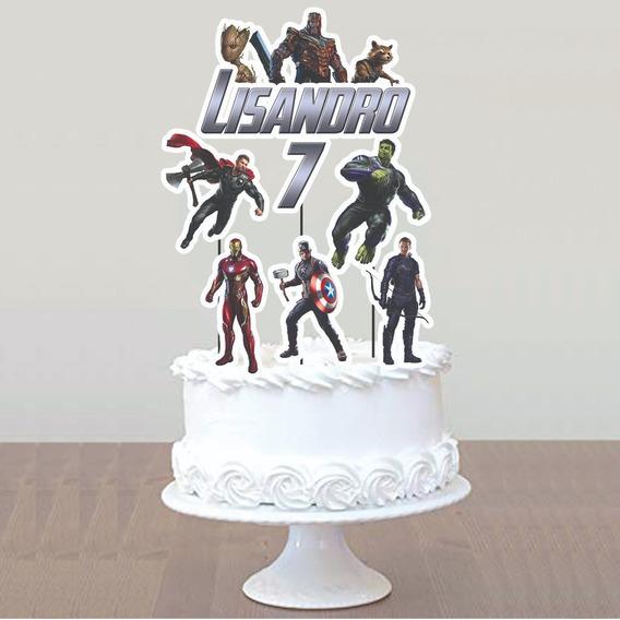 Cake Topper Pincho Personalizado Adorno Torta Avengers
