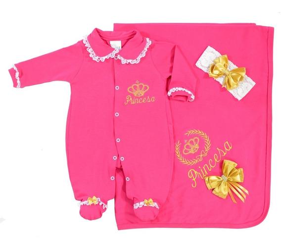 Saída De Maternidade Princesa - Luxo - Bordado Dourado