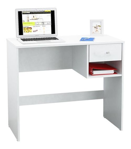 Escritorio 1 Cajon Y Estante Diseño Oficina Blanco Wengue