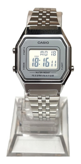 Relogio Casio Digital Mini Feminino La680wa Prata Original