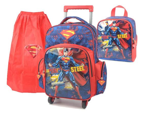 Kit Mochila Rodinha Menino Superman Super Homem