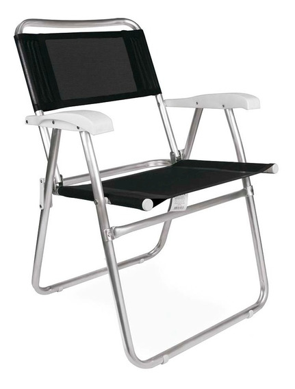 Cadeira De Praia Alumínio Master Preta Reforçada Mor Dobráv.