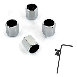 Set 4 Valvulas Tapones Para Llantas Con Seguridad Acero Inox