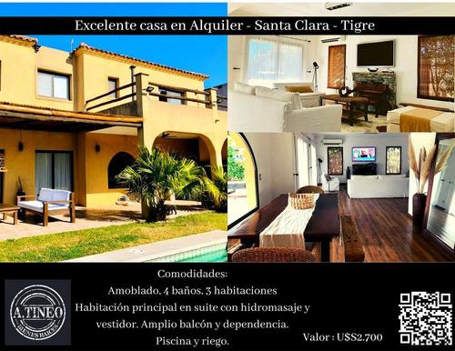Imagen 1 de 17 de Excelente Casa En Alquiler - Santa Clara - Tigre
