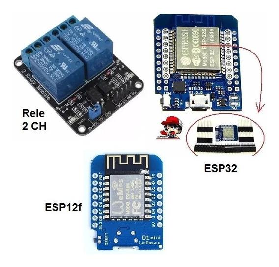 Lote Esp32 Tipo Wemos + Rele 2 Canais Relay Wifi Bluetooth