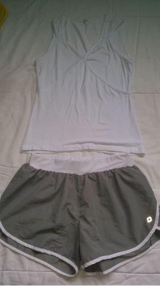 Shorts Fitness Feminino 40 + Blusa Branca P