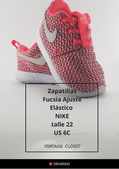 Zapatillas Nike Niña Fucsia T-22 / Us-6c Elástico Ajustable