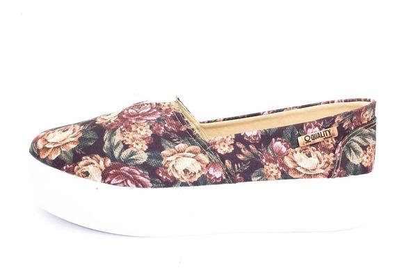 Tênis Flatform Quality Shoes Feminino 003 Floral