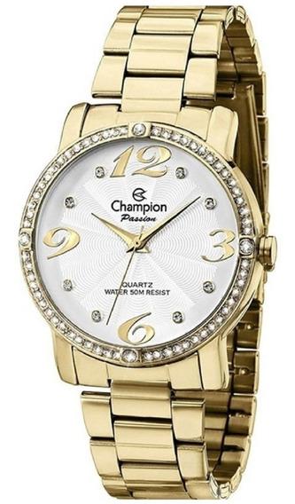 Relógio Feminino Champion Dourado Com Strass Ch24213h