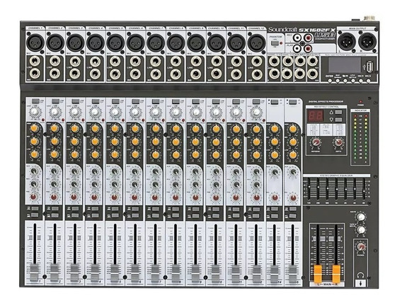 Mesa Soundcraft Sx1602 Fx Com Usb Player Eq Gráfico