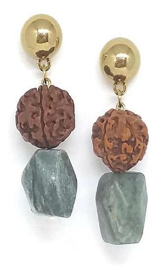 Brinco Arruda Acessórios Rudraksha Com Pedra Natural