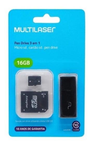 Cartão De Memória 16gb Classe 10 Multilaser Mc112 Micro Sd